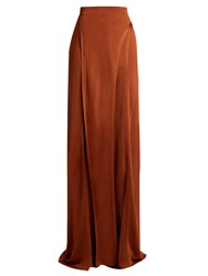 Balmain Wide Leg Side Slit Knit Trousers Copper