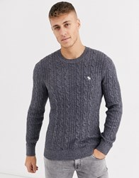 Abercrombie And Fitch Icon Logo Cable Knit Jumper In Grey
