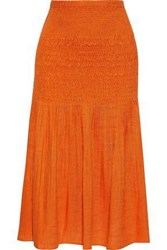 Nicholas Woman Shirred Pleated Gauze Midi Skirt Orange