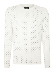 Peter Werth Watts Pattern Crew Neck Jumper Ecru