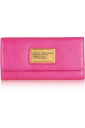 Marc By Marc Jacobs Classic Q Neon Textured Leather Wallet Pink