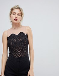 Coast Kelly Lace And Mesh Body Black