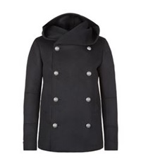 Balmain Hooded Pea Coat Black