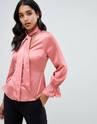 Lipsy Rouleau Button Satin Pussybow Blouse In Pink Pink