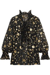 Roberto Cavalli Ruffled Star And Moon Fil Coupe Blouse Black