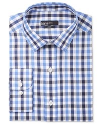 Bar Iii Men's Slim Fit Navy Textured Gingham Dress Shirt Only At Macy's