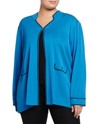 Ming Wang Plus Long Sleeve Stand Collar Knit Jacket Blue Black