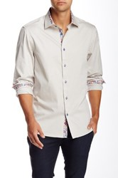 Brio Solid Long Sleeve Contemporary Fit Dress Shirt Beige