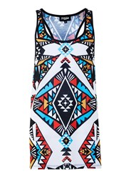 Topman Jaded White Multicoloured Tribal Print Racer Vest