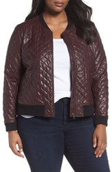 Sejour Plus Size Women's Quilted Faux Leather Bomber Jacket Burgundy Stem