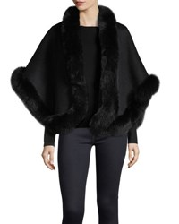 Neiman Marcus Luxury Double Faced Cashmere Short Cape W Fox Fur Trim Black