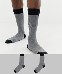 Selected Homme 2 Pack Stripe Socks Black Black Multi