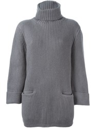 Liska Ribbed Roll Neck Jumper Grey