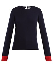 Barrie Flower Patches Cashmere Sweater Navy Multi