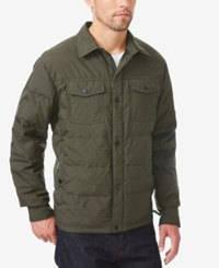 32 Degrees Men's Quilted Down Shirt Jacket Green