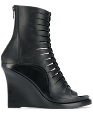 Ann Demeulemeester Braided Front Wedge Boots Black