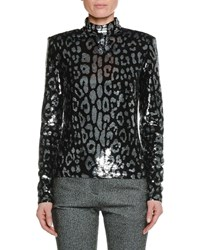 Tom Ford Long Sleeve Mock Neck Leopard Sequin Top Black Silver