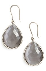Susan Hanover Women's Small Semiprecious Stone Teardrop Earrings Grey Black Silver
