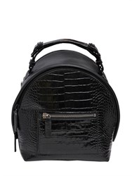 Msgm Crocodile Embossed Leather Backpack