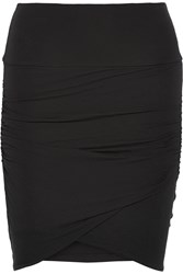 James Perse Ruched Stretch Cotton Mini Skirt Black
