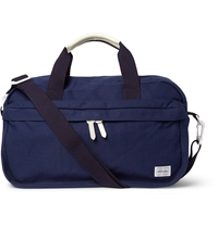 Porter Yoshida And Co Beat Leather Trimmed Canvas Boston Bag Blue