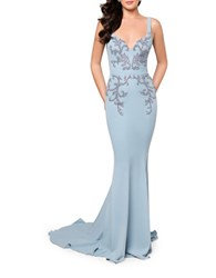 Glamour By Terani Couture Beaded Cape Gown Powder Blue