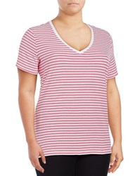 Lord And Taylor Plus Rowan Striped Compact Cotton Tee Pink
