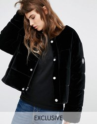 Puffa Oversized Collarless Padded Jacket In Velvet Black