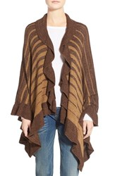 Women's La Fiorentina Stripe Shawl Brown Camel Brown