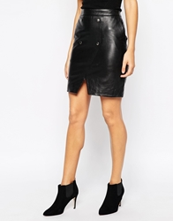 Y.A.S Joanna Skirt In Leather Black