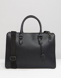 Asos Structured Briefcase In Faux Leather Black