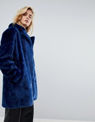 Moss Copenhagen Coat In Faux Fur Estate Blue