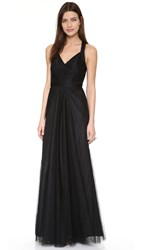 Monique Lhuillier Bridesmaids Keyhole Back Tulle Gown Black