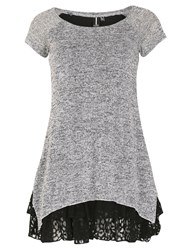 Izabel London Knit Tunic Top With Frill Hemline Grey