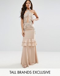Maya Tall High Neck Embellished Plunge Front Maxi Dress With Frill Skirt Detail Blush Pink