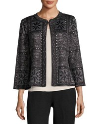 Ming Wang Studded Graphic Knit Jacket Black
