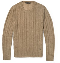 Gucci Cable Knit Cashgora Sweater Brown