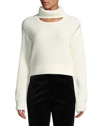Kendall Kylie Cutout Turtleneck Cropped Sweater Egret