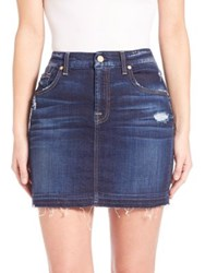 7 For All Mankind Distressed Mini Skirt Mykonos Dark Indigo