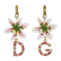 Dolce And Gabbana White Crystal Lily Logo Earrings