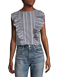Lucca Couture Alexandra Stripe Cropped Top Blue Stripe