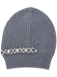 N 21 No21 Crystal Embellished Ribbed Beanie Women Silk Virgin Wool Metal Glass One Size Grey