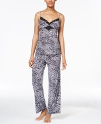 Thalia Sodi Leo Lace Trimmed Knit Pajama Set Only At Macy's Grey Leopard