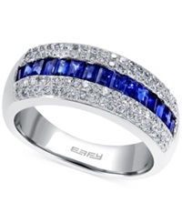 Effy Collection Effy Sapphire 1 Ct. T.W. And Diamond 3 8 Ct. T.W. Ring In 14K White Gold Blue