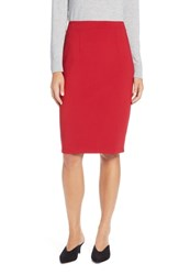 Halogen Ponte Pencil Skirt Red Chinoise