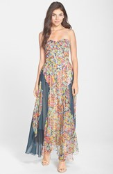 Women's Charlie Jade Strapless Silk Chiffon Maxi Dress Red Multi