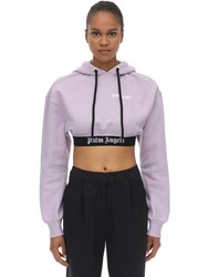 Palm Angels Cropped Cotton Jersey Sweatshirt Hoodie Lilac