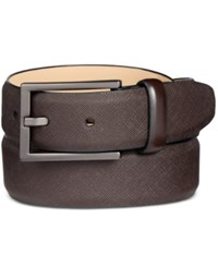 Alfani Men's Faux Saffiano Dress Belt Only At Macy's Brown