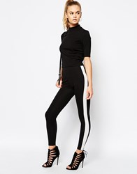 Daisy Street Legging With Side Stripe Black