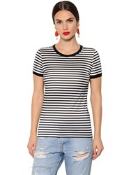 Dolce And Gabbana Dgfamily Detail Striped Jersey T Shirt